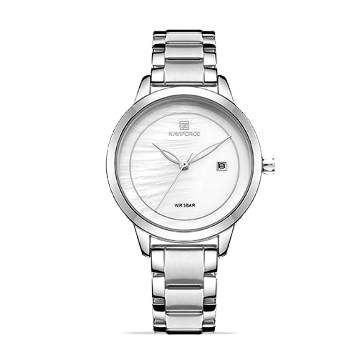 NAVIFORCE NF5008 Stainless Steel Analog Watch For Women - Silver