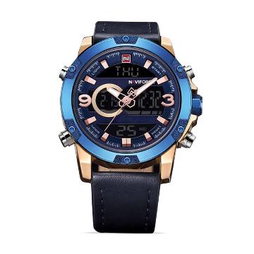 NaviForce NF9097 Digital Analog Dual Time Watch For Men- Blue