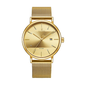NAVIFORCE NF3008 Mesh Stainless Steel Analog Watch For Couple - Golden
