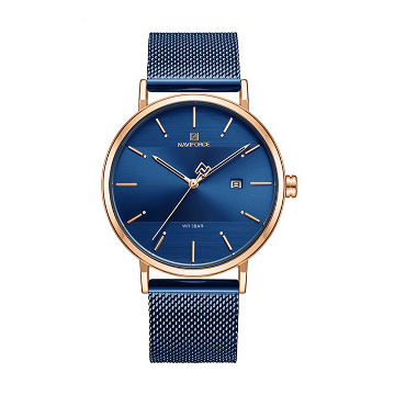NAVIFORCE NF3008 Mesh Stainless Steel Analog Watch For Couple - Royal Blue