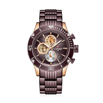 NAVIFORCE NF9173 Bronze Stainless Steel Chronograph Watch For Men - RoseGold & Bronze