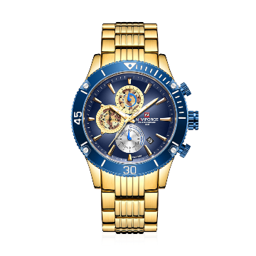 NAVIFORCE NF9173 Stainless Steel Chronograph Watch For Men - Royal Blue & Golden