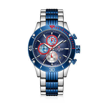 NAVIFORCE NF9173 Stainless Steel Chronograph Watch For Men - Royal Blue & Silver