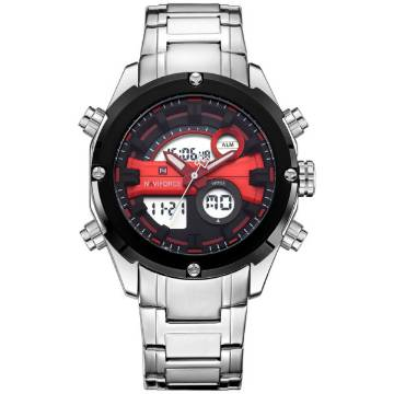NAVIFORCE NF9088 Silver Stainless Steel Dual Time Wrist Watch For Men - Red & Silver