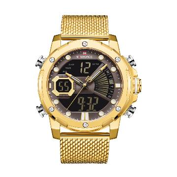 NAVIFORCE NF9172 Stainless Steel Dual Time LCD Digital Wrist Watch For Men - Golden