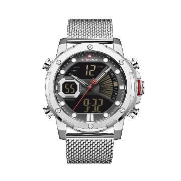 NAVIFORCE NF9172 Stainless Steel Dual Time LCD Digital Wrist Watch For Men - Silver