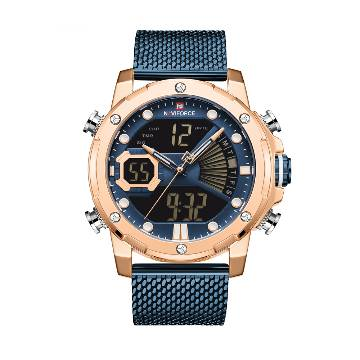NAVIFORCE NF9172 Stainless Steel Dual Time LCD Digital Wrist Watch For Men - RoseGold & Royal Blue