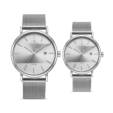 Naviforce Stainless Steel Watch for Couple - Silver