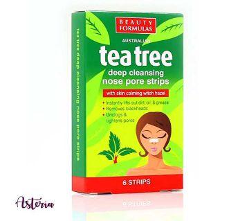 Beauty Formulas Australian Tea Tree Deep Cleansing Nose Pore Strips Made in PRC-6 Strips