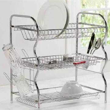 3 Layer Dish Rack with Cutlery Basket,Draining Board & Dish Holder