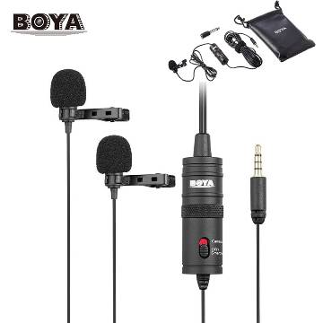 Dual Lavalier Universal Microphone for Smartphones and DSLR Cameras-Black