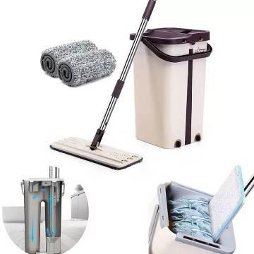 Self Wring Magic Mop Free Hand Washing Flat Mop Ultrafine Fiber