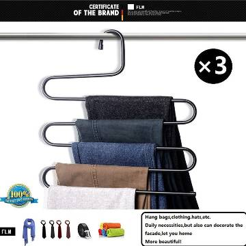 S Type Clothes Pants Trouser Hanger Multi Layers Storage Rack Closet Space Saver Stainless Steel