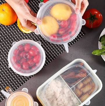 6 Pcs Kitchen Reusable Silicone Stretch Seal Lid Preservation Vacuum Food Storage Bowl Cover
