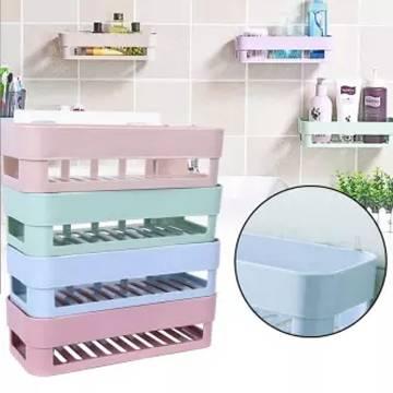 Plastic Bathroom Shelves Storage Shelf Organization Rack Basket (Multicolor)