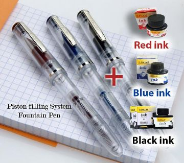 Fountain pen Dollar FP 717i Transparent Fountain Pen with Black Blue and Red ink- 3 PCs