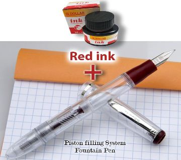 Fountain pen Dollar FP 717i Transparent Fountain Pen with Red Ink