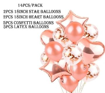14Pcs Party Foil Balloon Set Rose Gold Color