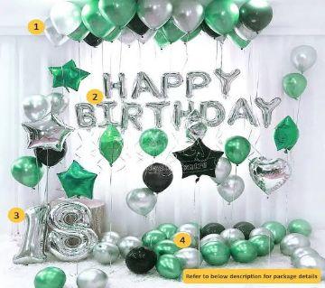 Happy Birthday Decoration Green-Silver Theme