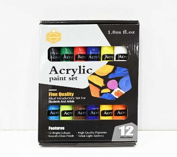 Keep-Smiling For Students & Artists Acrylic Paint Set 12 Bright Colors, 30ml