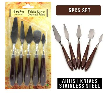 5 Pieces Painting Knives, Stainless Steel Palette Knife Set Painting Scraper Spatula Knife Tools Accessories for Oil Canvas Acrylic Painting