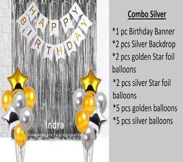 Happy Birthday Combo Silver (Banner + Backdrop + Foil Ballon)