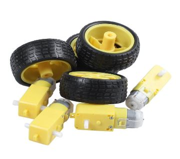 (4 Pcs combo) For Arduino Smart Car Robot Plastic Tire Wheel with DC 3-6V Gear Motor