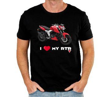Half Sleeve Cotton Bike T Shirt For Men - Black