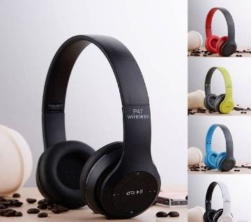 Foldable Bluetooth Wireless P47 Headphones Noise(Black & Blue)
