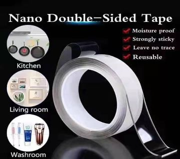 5M-Nano Magic Double Side Adhesive Tape 2CM Wide Reusable Clear Waterproof Anti-Slip Traceless Sticky Gel Pad Strips Grip for Car Home Office Supplies
