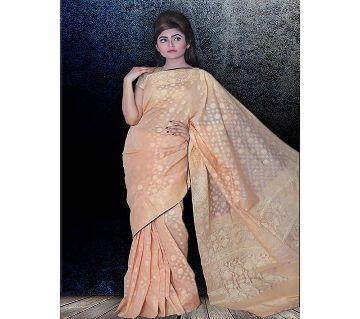 Jamdani Half Silk 12 Haat Sharee Without Blouse Piece For Women-Pink