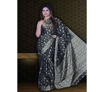 Jamdani Half Silk 12 Haat Sharee Without Blouse Piece For Womens  -Black