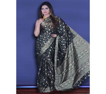 Jamdani Half Silk 12 Haat Sharee Without Blouse Piece For Women-Blue