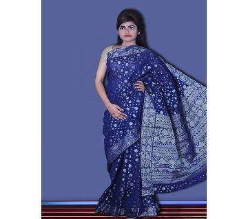 Jamdani Half Silk 12 Haat Sharee Without Blouse Piece For Womens  -blue