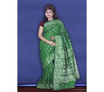 Jamdani Half Silk 12 Haat Sharee Without Blouse Piece For Womens -green
