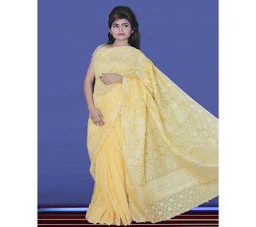 Jamdani Half Silk 12 Haat Sharee Without Blouse Piece For Womens-Yellow