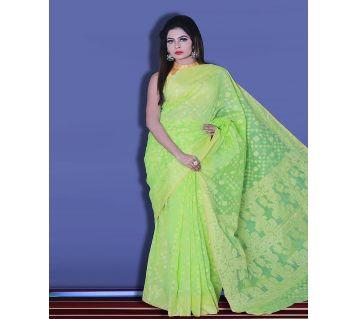 Jamdani Half Silk 12 Haat Sharee Without Blouse Piece For Womens-Light green