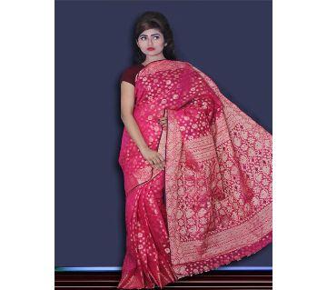 Jamdani Half Silk 12 Haat Sharee Without Blouse Piece For Women -Magenta