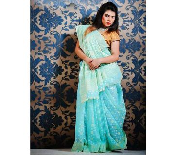 Jamdani Half Silk 12 Haat Sharee Without Blouse Piece For Womens -pest