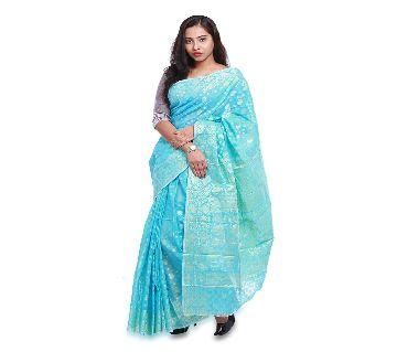 Jamdani Half Silk 12 Haat Sharee Without Blouse Piece For Womens -Firoza color
