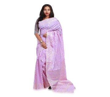 Jamdani Half Silk 12 Haat Sharee Without Blouse Piece For Womens-Rose pink
