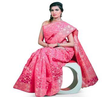 Jamdani Half Silk 12 Haat Sharee Without Blouse Piece For Womens -magenta