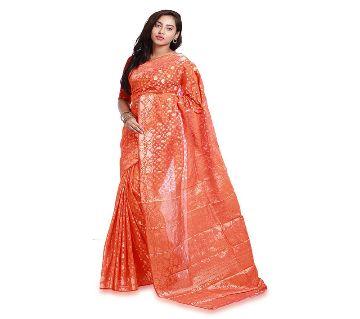 Jamdani Half Silk 12 Haat Sharee Without Blouse Piece For Womens  -Orange
