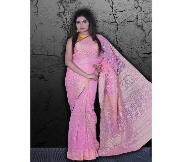 Jamdani Half Silk 12 Haat Sharee Without Blouse Piece For Womens  -pink