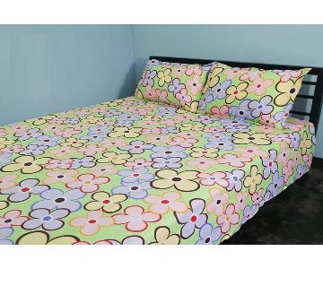 Digital Home Tex Cotton Fabric 7.5 By 8.5 Feet Multicolor King Size Bedsheet With Two Pillow Covers By Sells Bazar BD.
