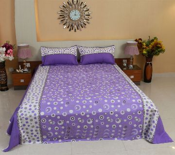 Digital Home Tex Cotton Fabric 7.5 By 8.5 Feet Multicolor King Size Bedsheet With Two Pillow Covers-Purple