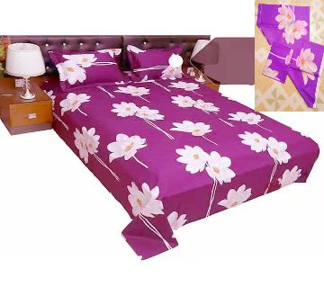 Digital Home Tex Cotton Fabric 7.5 By 8.5 Feet Multicolor King Size Bedsheet With Two Pillow Covers-Violet