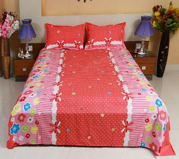 Digital Home Tex Cotton Fabric 7.5 By 8.5 Feet Multicolor King Size Bedsheet With Two Pillow Covers-Orange