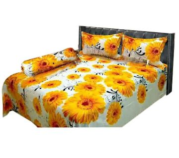 Digital Home Tex Cotton Fabric 7.5 By 8.5 Feet Multicolor King Size Bedsheet With Two Pillow Covers-Yellow