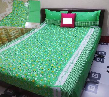 Digital Home Tex Cotton Fabric 7.5 By 8.5 Feet Multicolor King Size Bedsheet With Two Pillow Covers-Green